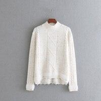 2017 zima wokół szyi casual sweter z dzianiny damskie z długim rękawem splice kobiety swetry i pulowery żakardowe odzież damska
