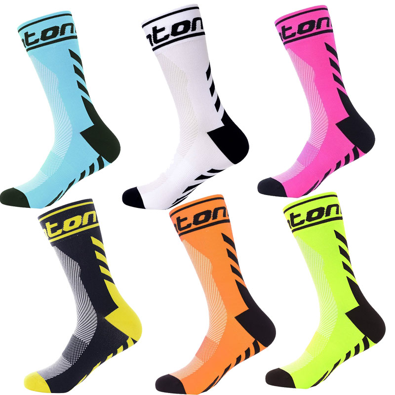 Cycling Socks Men Breathable Road Brightly Colored Striped Nylon Bike Socks