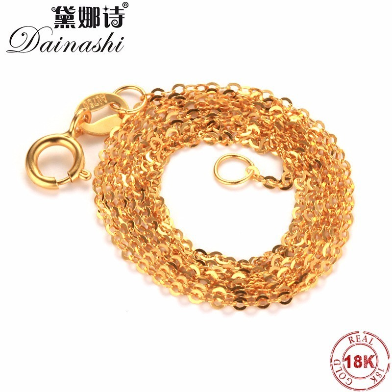 Dainashi Fashion Genuine 18K Gold Chains For Women,Au750 Fine Gold Jewelry Necklace,High Quality Anti Allergic,45cm,Gift Box image