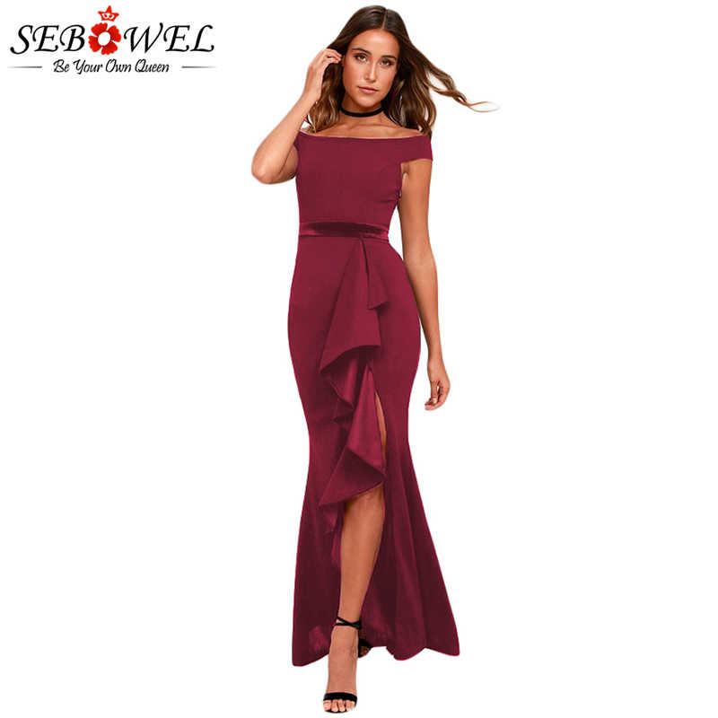 4e44b13d SEBOWEL Sexy Red Off Shoulder Party Dress Women 2019 Short Sleeve Elegant  Ruched Maxi Dress Long