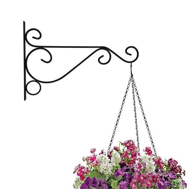 Metal Art Plant Pot Holder Flower Pot Hanger Hook Iron Wall Hanging