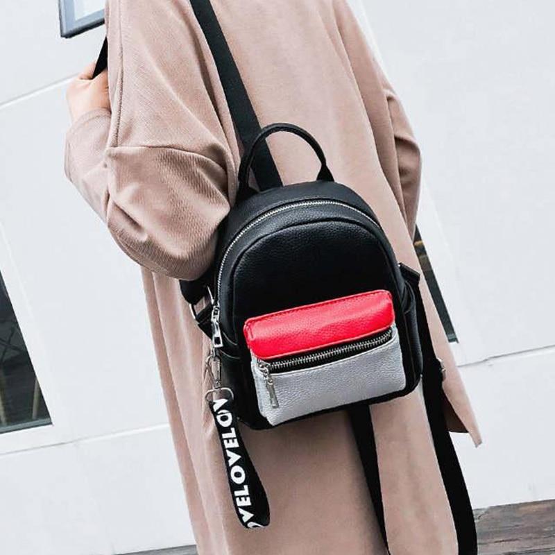 купить 2017 PU Leather Backpack Women Casual Bagpack Mochila Travel Backpacks School Bags For Girls Mini Backpack bolsas femininas недорого