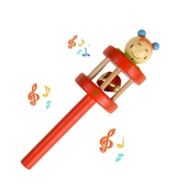 Cartoon puppet Baby Rattles wooden Music Novelty Hand Shake Bell Ring Early Learning toys