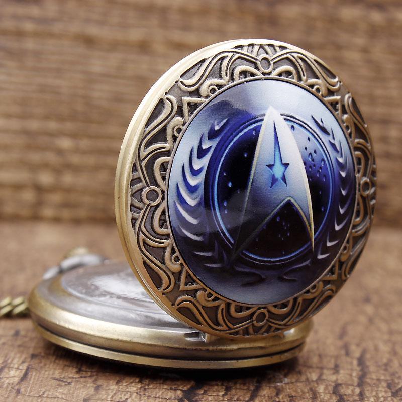 2016 New Arrival Moda Star Trek Theme UFP Logo Brązowy zegarek - Zegarki kieszonkowe - Zdjęcie 2