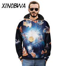 2018 Men's Fashion Autumn Winter New Creative Pizza Meow 3D Printed Hooded Coats Male Casual Loose Oversize Sweatshirts Outwear(China)