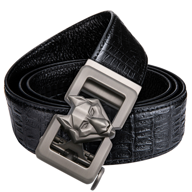 Hi-tie Fashion Men Casual Belt Buckle black leather belts for Men jeans crocodile luxury leather Automatic waist Belt DK-1012-HA