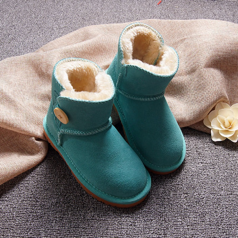 цены No Logo Snow Boots Kids 2017 Winter Genuine Leather Boots For Girls Boys New Fur Buckle Shoes Children Boots With Fur Warm Botas