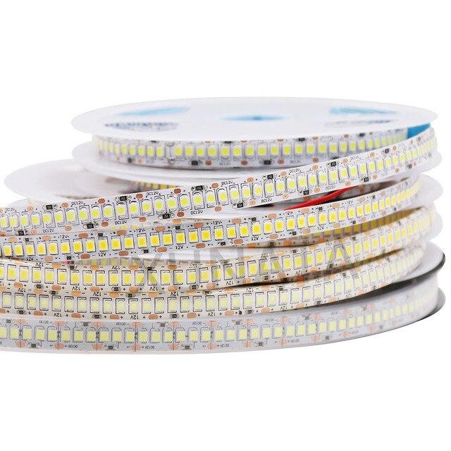 Tira de luces LED de 5M, 2835 SMD DC 12V 240LEDs/M 300/600/1200 Leds, impermeable IP65, Flexible, cinta de luces LED, blanco frío y cálido
