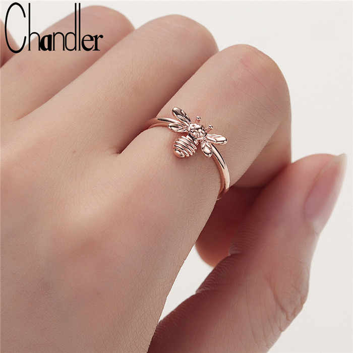 Chandler Rose Gold Fashion Cute Women's Little Bee Rings Female Chic Dainty Insect Rings Party Delicate Bague Wedding Jewelry