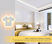 Modern T shirt LED Wall Light Bedroom Bedside Sconce Clothes Acrylic Lampshade White Painting Iron Indoor Home Lighting