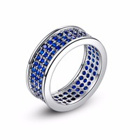 Hot Wedding Bands Rings For Love Luxury Pave Setting Deep Blue CZ Zirconia Crystal Silver Engagement