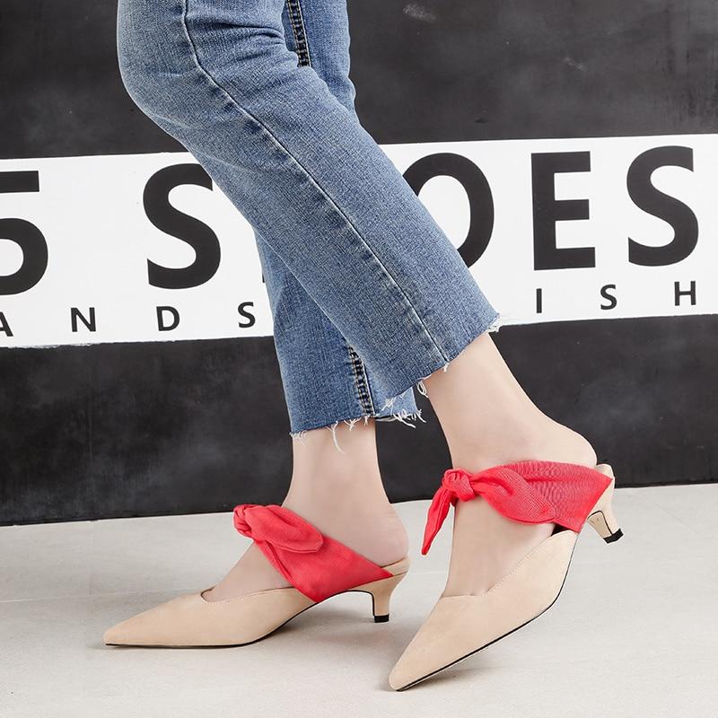 Mules Mules Mujeres Las {d Tacones pink Zapatos Mules Nudo Bajo Black apricot Mules Zapatillas Mulas black Punta Henlu} amp; Señoras Mariposa Tacón De Mujer xT1rnx