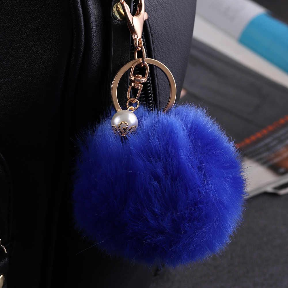 12 cor Fofo Artificial Pele De Coelho Pompom Chaveiro Mulheres Saco De Pérolas Talão Ornamentos Pingente Da Corrente Chave Chaveiro