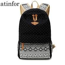 atinfor Canvas Printing Women Backpack Travel Rucksack Female Laptop Bagpack Student Bookbag School Bag for Teenage
