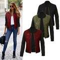 Fashion Ladies Women Long Sleeve Zipper patchwork Coat Jacket Short Coat Casual Warm Outerwear