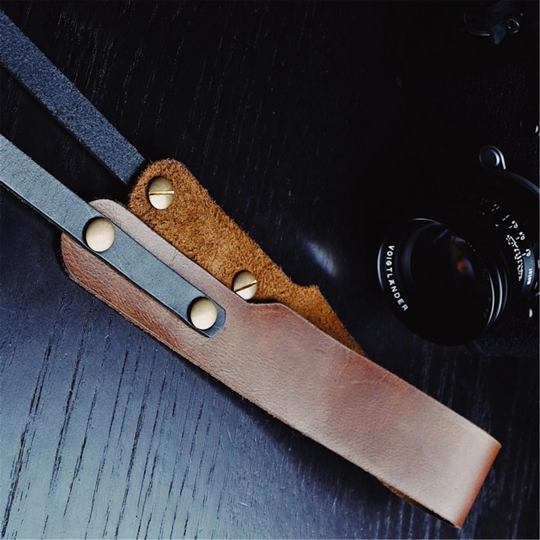 Ceinture bandoulière en cuir véritable faite à la main marron pour appareil photo Leica Fuji Sony Canon Olympus