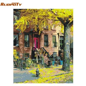RUOPOTY Frame Bladverliezende DIY Schilderen Door Nummer Landschap Kalligrafie schilderij modern wall art foto uniek cadeau voor home decor