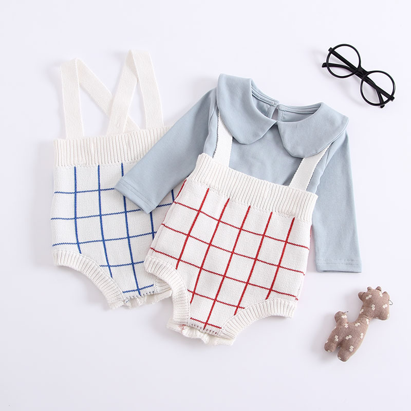 2018 New Autumn Summer Newborn Baby Knitted Romper Sling Cotton Plaid Jumpsuit 1 2 3 Years ...