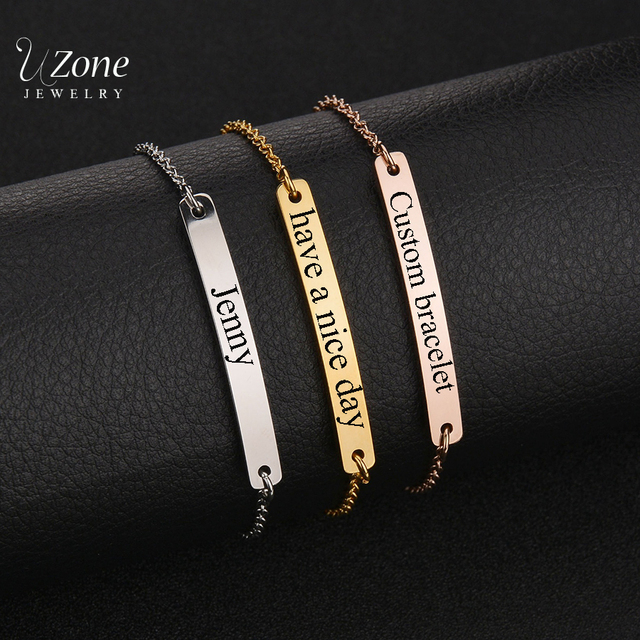 New Arrival Customize Jewelry Engraved Name Bracelet Stainless Steel