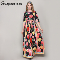 2018 Newest High Quality Runway Designer Maxi Women Dresses White Black LHalf Sleeve Beading Flower Print
