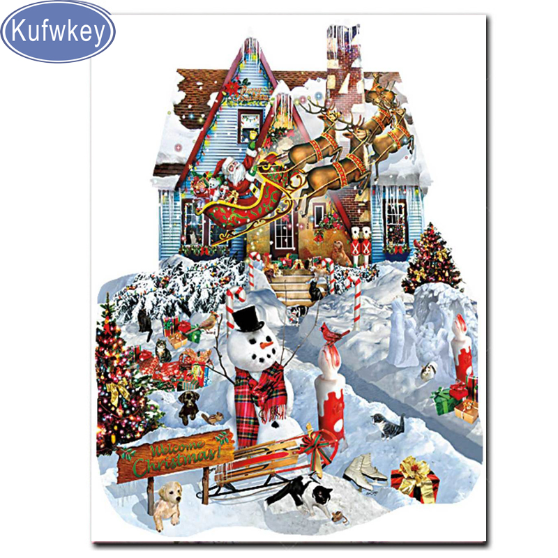 Full Square round Diamond embroidery Santa Claus snow Patterns mosaic 5D DIY Diamond painting landscape scenery Christmas winter in Diamond Painting Cross Stitch from Home Garden