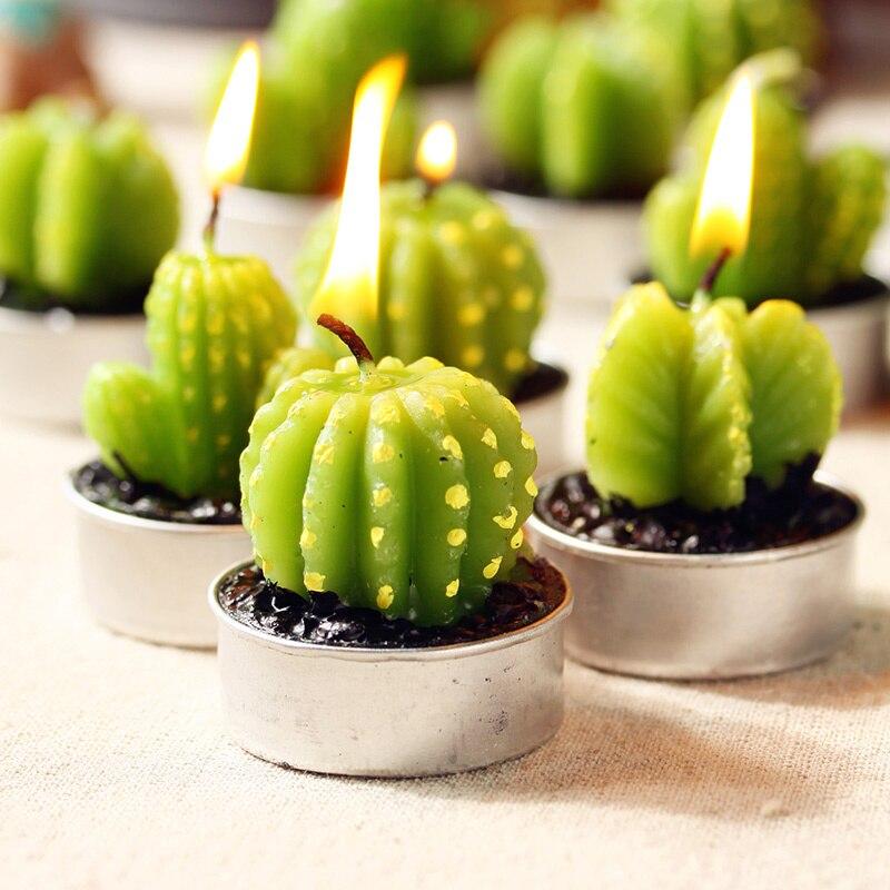 6pcs Lot Mini Cactus Candles Tealight Candles Fruit Plant Potted Paraffin Wax Home Decor Event