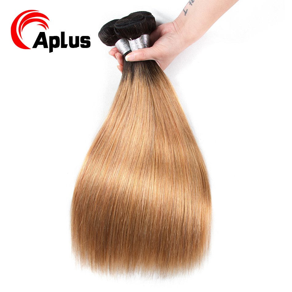 A Plus Hair Brazilian Straight Weave T1B/27 Ombre Human Hair Weave Bundles  100g/Piece Double Weft Non Remy Hair Weave Extension