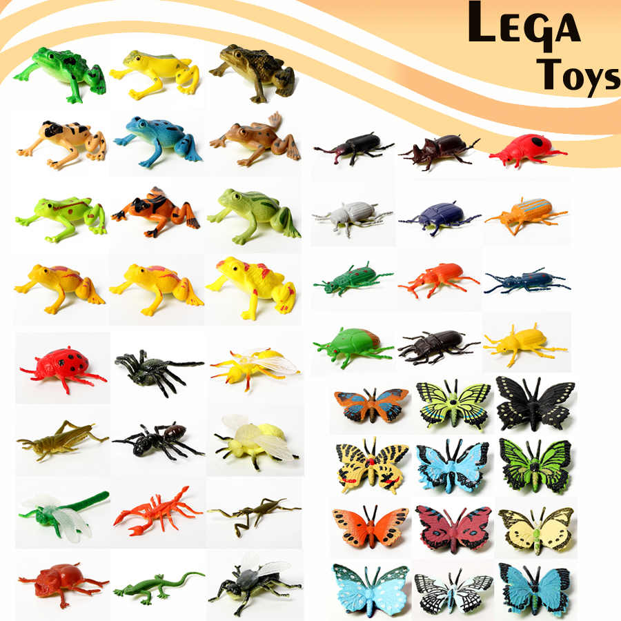 12PCS Lifelike Assorted Realistic Plastic Insects Including Beetle,Frogs ,Butterfly Character Action Figures Model Toys