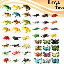 12pçs insetos de plástico realista assortidos, incluindo beetle, frogs, personagem de borboleta, figuras de ação, brinquedos modelo