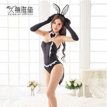 DRAIMIOR Sexy Bunny Girl COSPLAY temptation Erotic Costumes Sexy Jumpsuit Hot lace sexy rabbit Role Play Babdydoll Dress NJY0054(China)