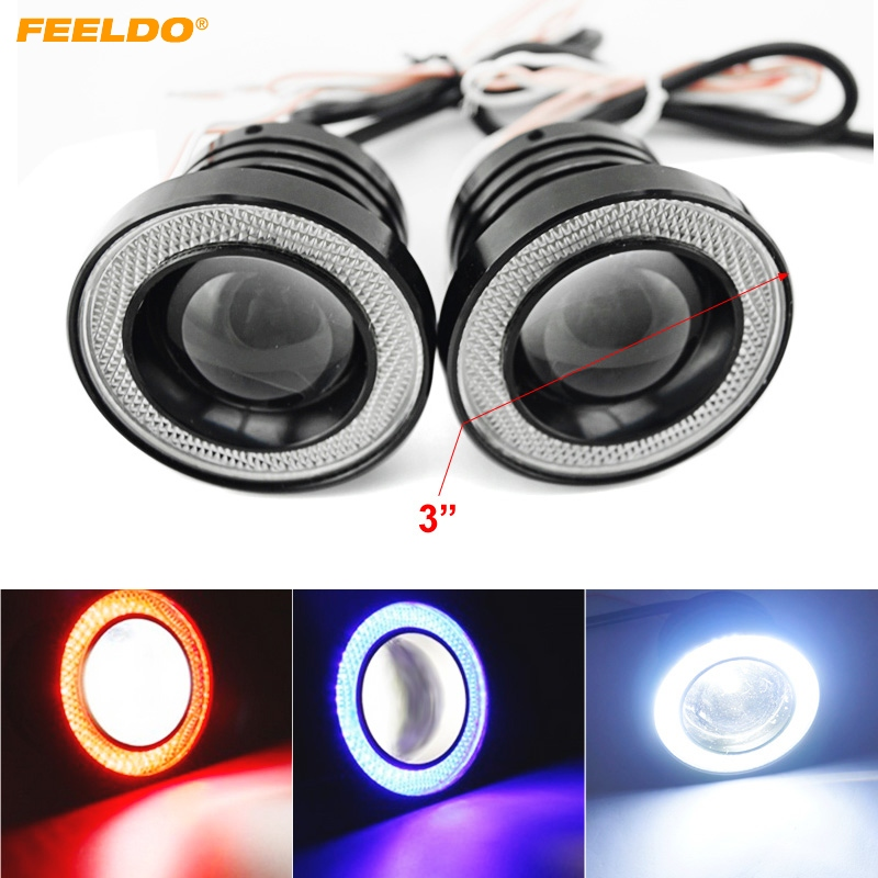 1Pair 3 30W Car Projector Lens Fog Light With Universal 76mm COB Angel Eyes Daytime Running Light DRL Headlight #FD-4677 sinolyn 3 0 super hid bixenon lenses headlight car projector lens square u led angel eyes halo daytime running lights headlamp