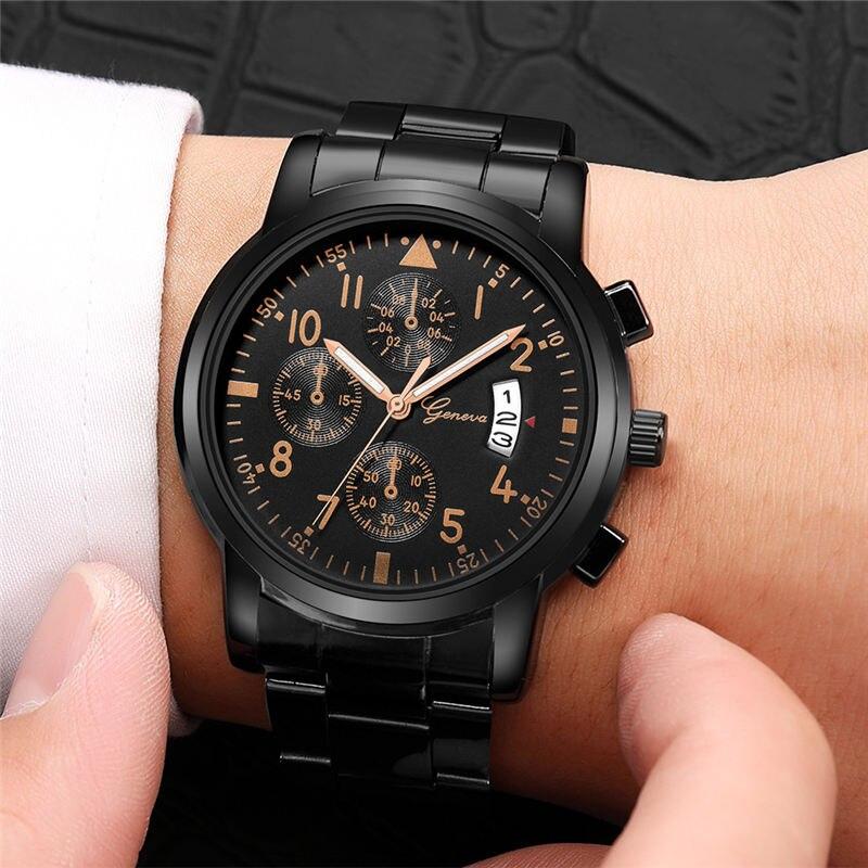 2019 Geneva Fashion Simple Men Women Watch Luxury Stainless Steel Strap Business Mens Clock Quartz Wrist Watches Montre Homme