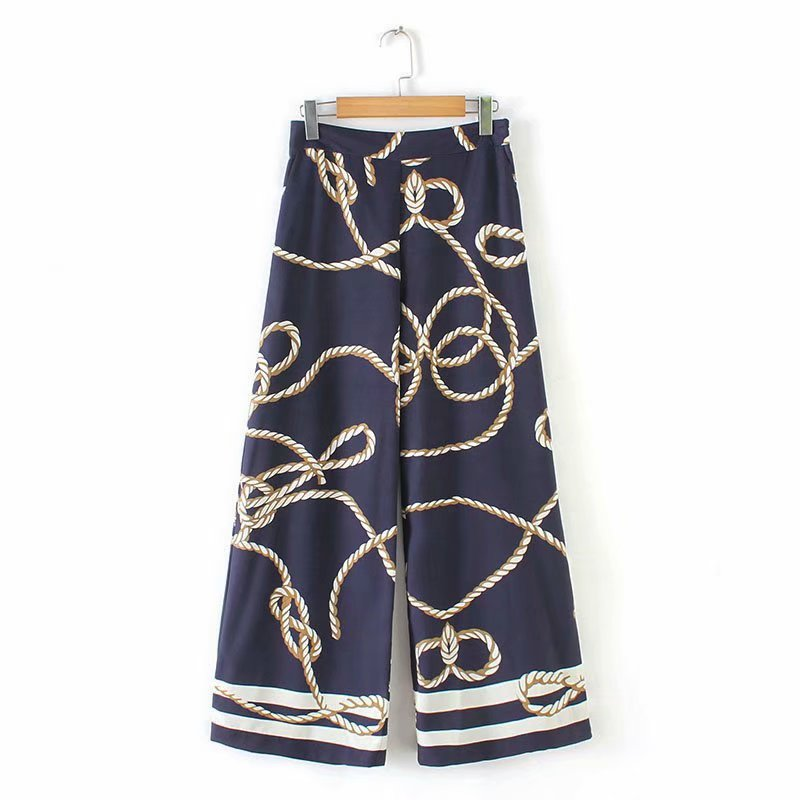 2019 Women vintage knotted print   wide     leg     pants   femme streetwear long Trousers mujer Leisure side zipper chic brand   Pants   P297