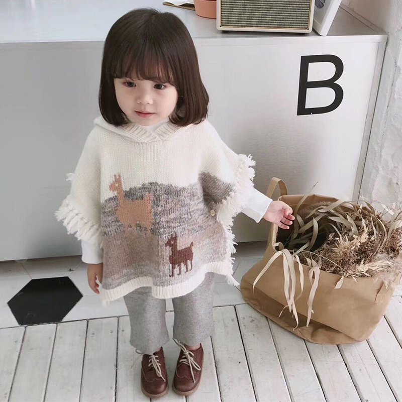 Girls sweater cloak alpaca wool sweater for kids Autumn soft warm outwear hooded fashion hooded sweater in middle of September longline hooded chunky sweater page 1