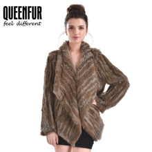Women Real Rabbit Fur Jacket With Turn-down Collar Natural Knitted Rabbit Fur Coat 2016 New Irregular Genuine Fur Outwear 8Color