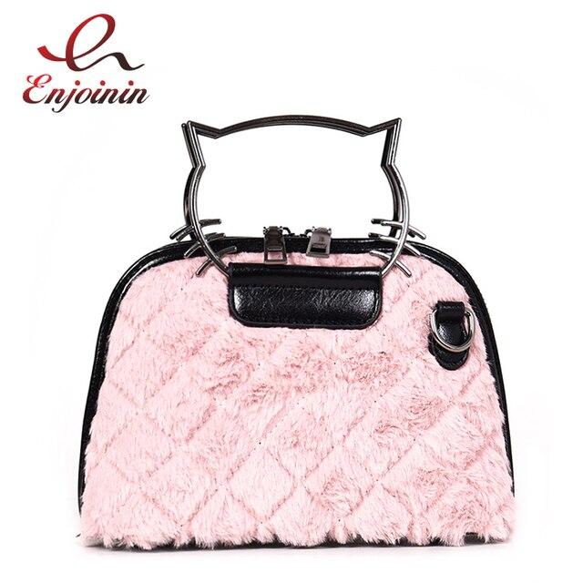 3f5a327c3b Faux Fur Stitching Pu Cute Cat Metal Handle Fashion Women s Shell Tote  Shoulder Bag Crossbody Mini