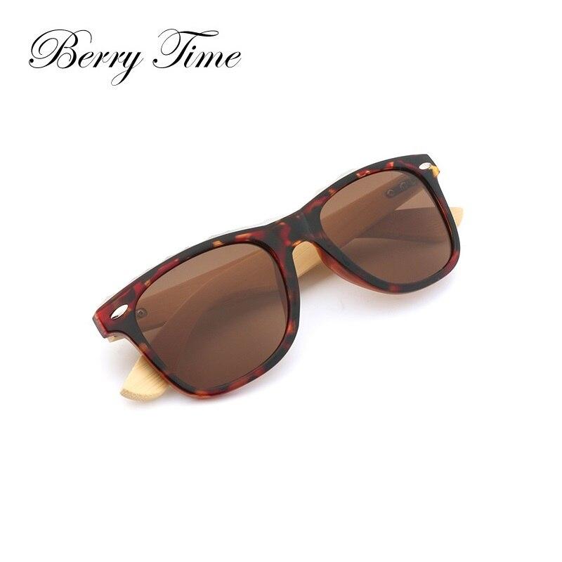 Berrytime Wooden Sunglasses Men Fashion Square Women Colorful Lens Glasses Driving Wood Eyewear Brand Design Sunglasses 1501A