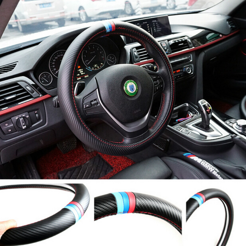 new car styling steering wheel cover interior accessories carbon fiber case for bmw e39 e46 e30. Black Bedroom Furniture Sets. Home Design Ideas