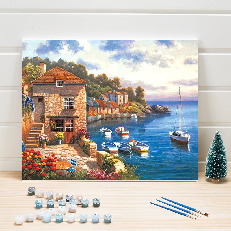 Paint Picture By Numbers Package Landscape DIY Canvas Painting Acrylic Coloring Wall Art For Living Room Home Decoration Adults