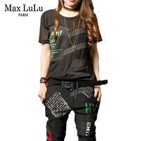 Max LuLu Summer Luxury Brand Clothes Girls Jeans Streetwear Womens Punk Two Pieces Set Crop Tops