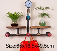 L:65X16.5X49.5CM Loft Style Wall Pipe Racks Retro Water Pipe Tap Shelves Wall Decoration