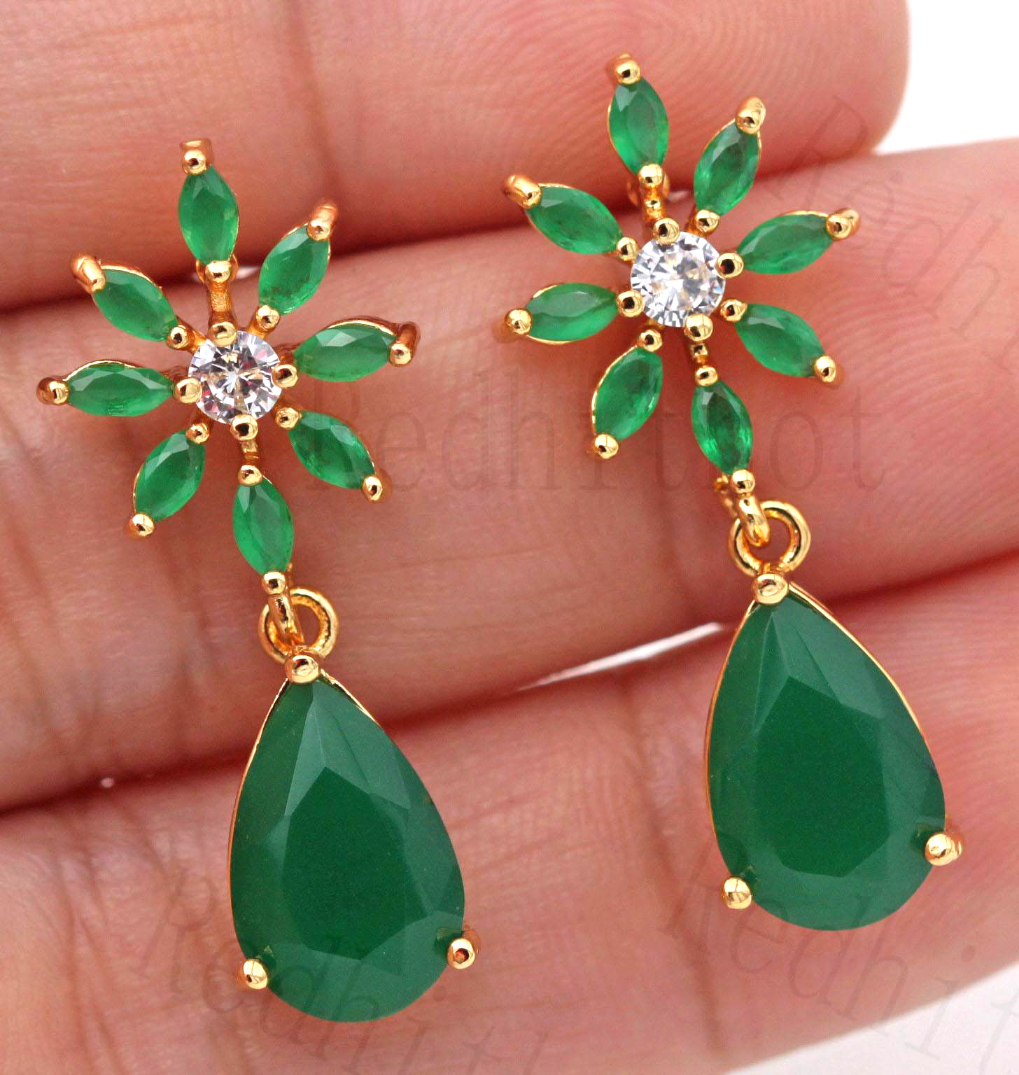 New Sun Flower Stud Earrings For Women Waterdrop Earring With Green Zircon Luxury Statement Jewelry For Wedding Engagement Gift