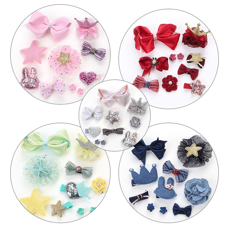10Pcs/Set  Creative Solid Beauty Baby Girls Boutique Head Clips Hair Bows Crown Princess Bobbles Gift(China)