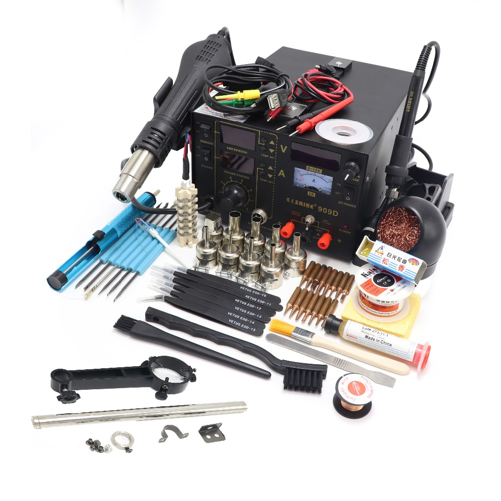 New Saike 909D hot air gun desoldering station with regulated power supply three in one multi