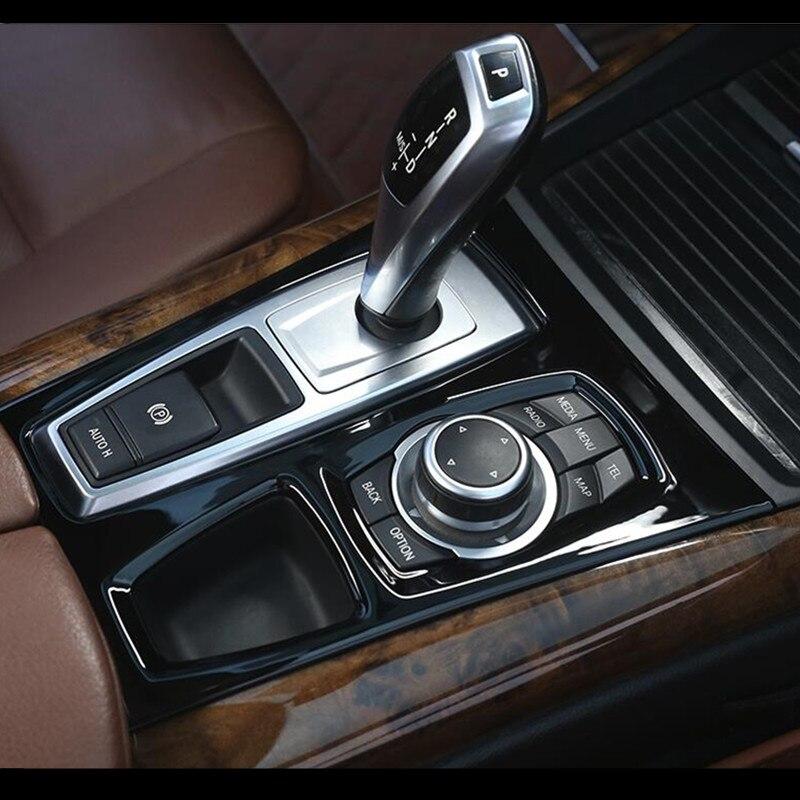 คอนโซลกลางสีดำเกียร์ SHIFT PANEL ตกแต่งฝาครอบ Trim สำหรับ BMW X5 E70 X6 E71 2008-2014 LHD สแตนเลสรถเหล็กจัดแต่งทรงผม