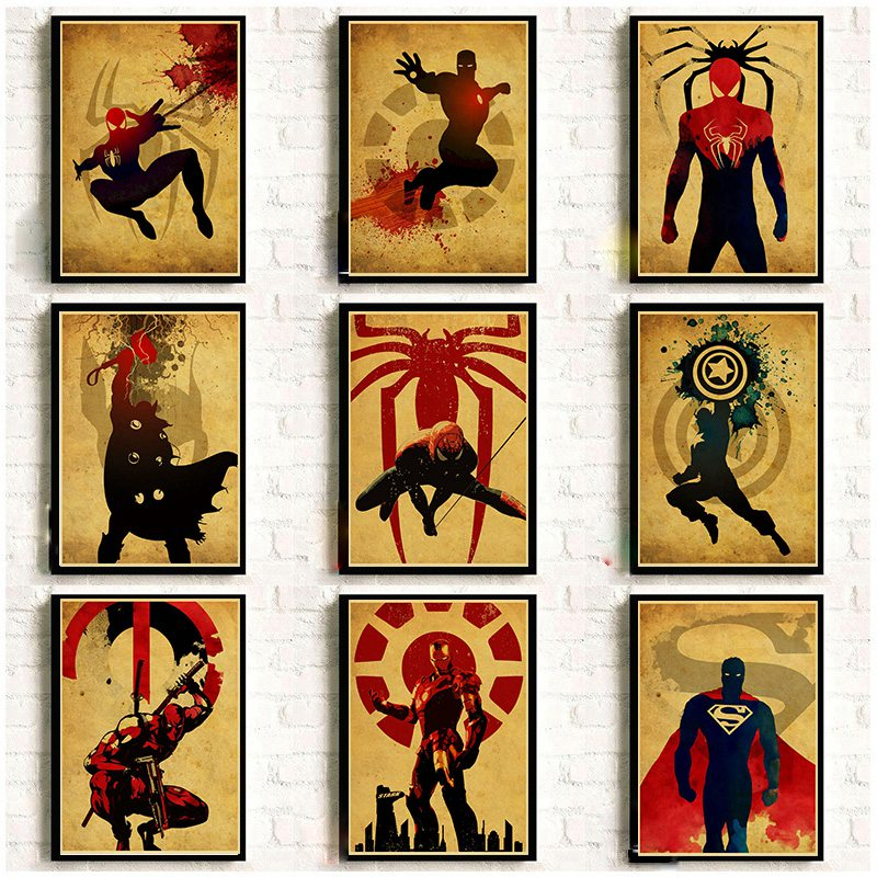Vintage Marvel DC Anime Super Heroes Posters For Home Room Decor Kraft Paper High Quality Prints and Poster Wall Sticker