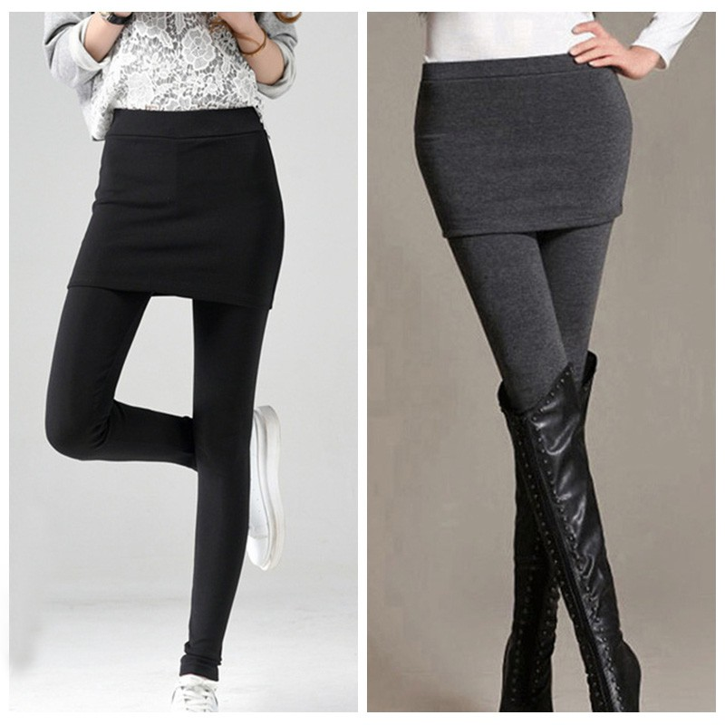 Women's winter warm Pants 2018 Solid Fake two pieces thicken Fleece Ankle-Length   Leggings   With Skirt Black Grey Popular Trouser