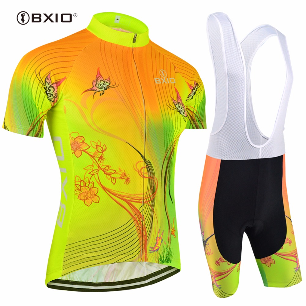 Top Rate Fluorescence Women Cycling Sets Bxio Brand Bicycle Short Sleeve Road Bike Clothing Roupas De