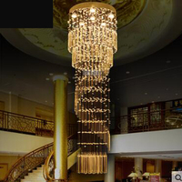 Duplex staircase chandeliers spiral staircase lamp long chandelier Villa staircase chandeliers lounge large lamp led lamps light