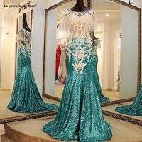 La estrella de mar gala jurken 2019 new sequins crystal cloak sexy mermaid blue green prom dresses long plus size gala dress
